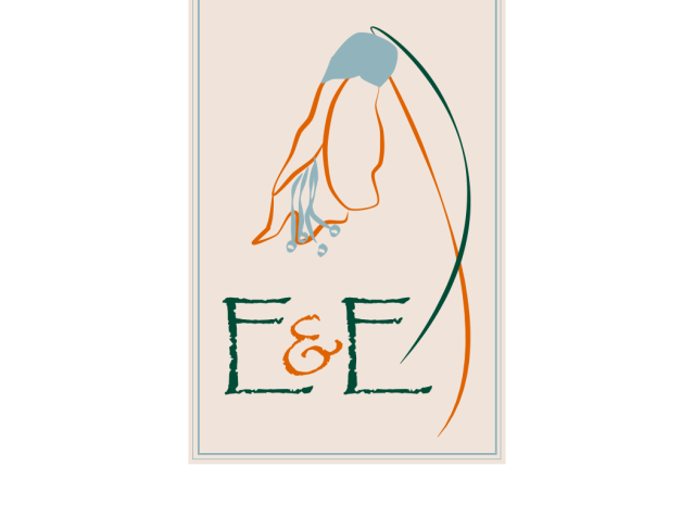 Logo - the letters E&E with a Kowhai flower above.