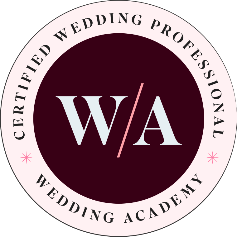 Badge displaying that Jodie Munro of Emerald and Ebony is a Certified Wedding Professional with the Wedding Academy